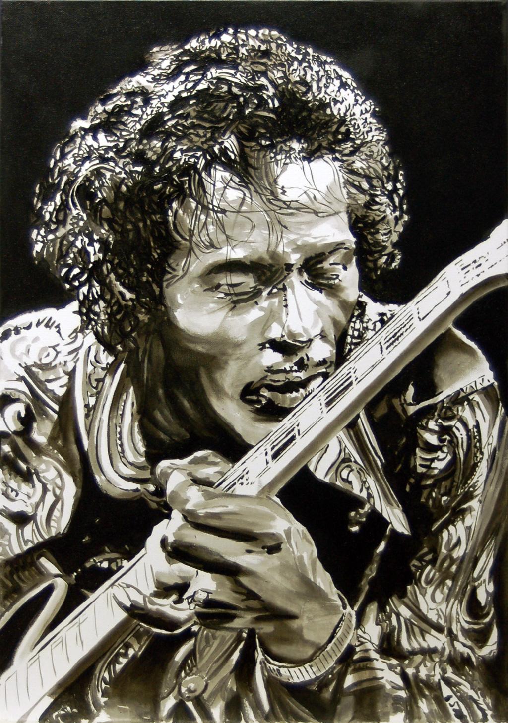 Chuck Berry, Öl auf Leinwand